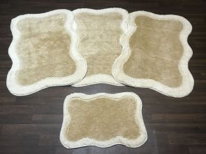 GYPSY TRAVELLERS MATS  4PCS NON SLIP NEW DESIGN SUPER THICK CREAM/ LIGHT BEIGE BARGAINS (2) (4)